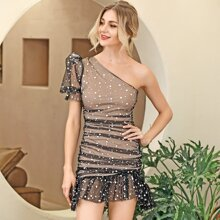 HouseOfChic One Shoulder Ruched Ruffle Hem Sequin Mesh Bodycon Dress