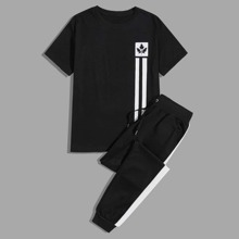 T-Shirt mit Streifen & Pflanzen Muster & Jogginghose mit Kordelzug