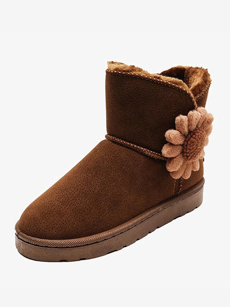 Women Flowers Cotton Plush Lining Slip On Short Snow Boots