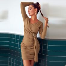 Glamaker Surplice Neck Buckle Draped Ruched Bodycon Dress
