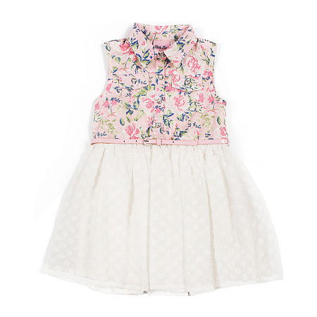 Little Lass Toddler Girls Sleeveless A-Line Dress, 3t , Blue