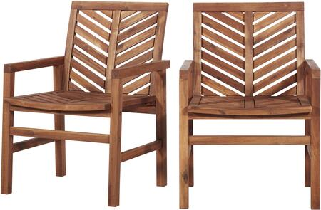 OWC2VINBR Patio Wood Chairs  Set of 2 in