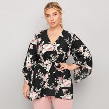 Plus Floral Print Belted High Low Blouse