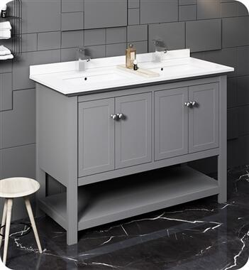 FCB2348GR-D-CWH-U Manchester 48 Gray Traditional Double Sink Bathroom Cabinet with Top and