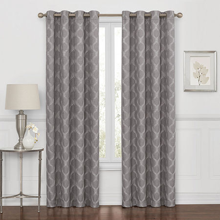 Maxx Blackout Prescott Embroidered 100% Blackout Grommet-Top Single Curtain Panel, One Size , Gray