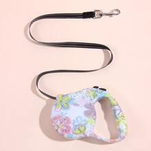 Flower Print Retractable Dog Leash