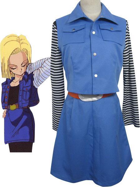 Milanoo Halloween Dragon Ball Androide 18 Halloween Cosplay traje uniforme tela combinado cuero