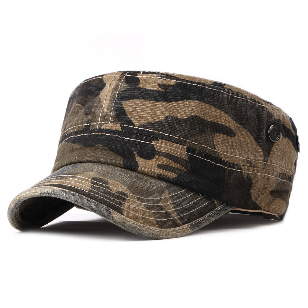 Men Camouflage Simple Washed Cotton Flat Top Caps Hat Adjustable Outdoor Travel Sunscreen Army Caps