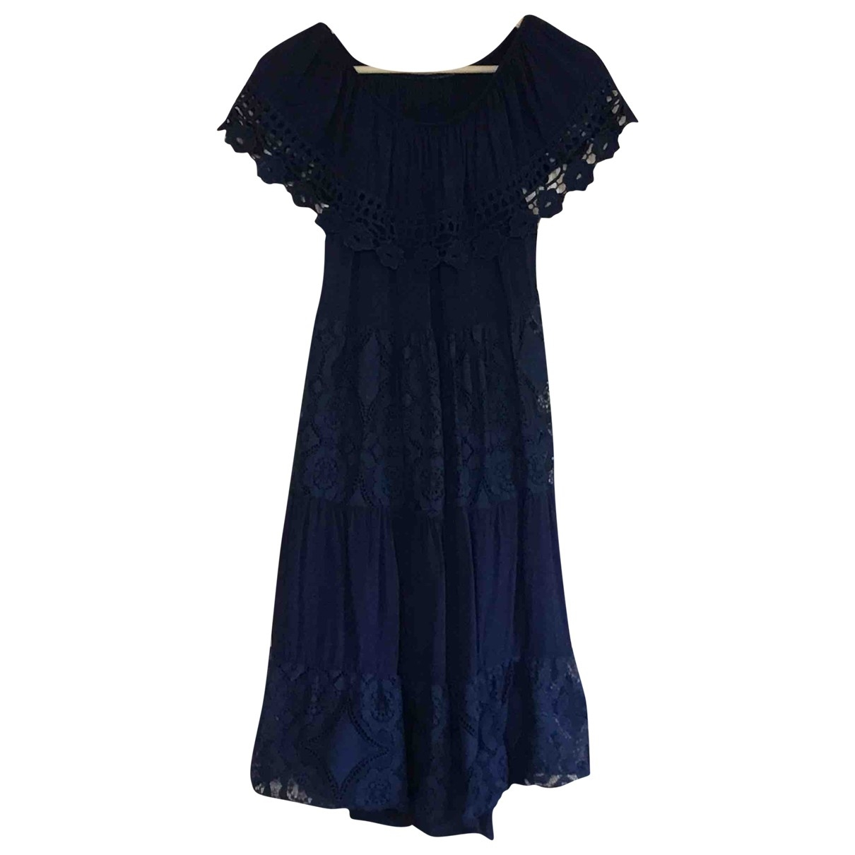 Non Signé / Unsigned Hippie Chic Navy Cotton dress for Women 38 FR