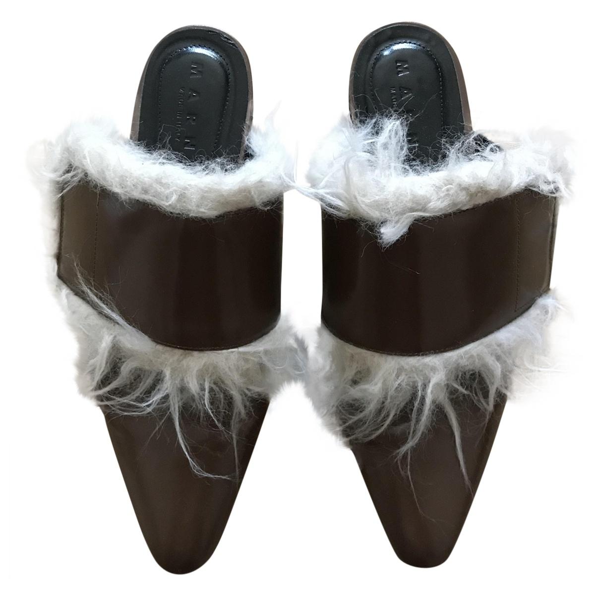 Marni - Sandales   pour femme en cuir - kaki