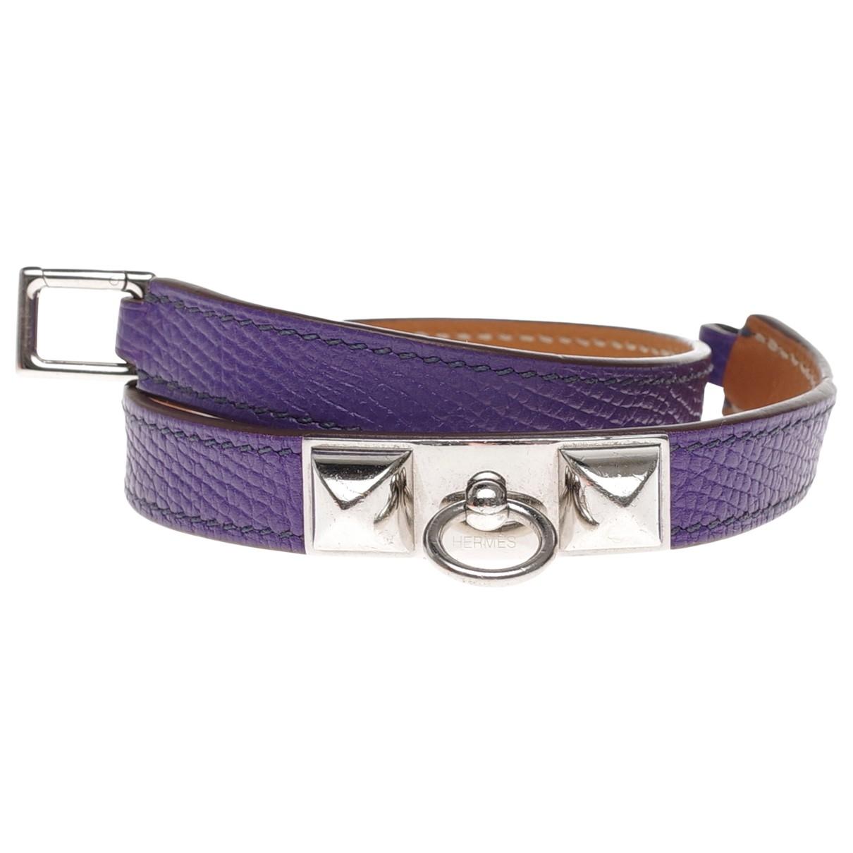 Hermes - Bracelet Rivale pour femme en cuir - violet