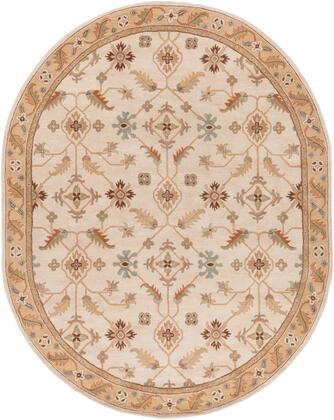 Caesar CAE-1084 8' x 10' Oval Traditional Rug in Khaki  Dark Brown  Olive  Camel