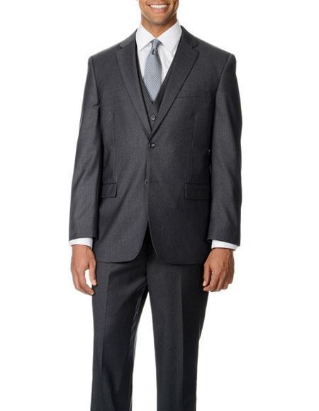 Men's Single Breasted 2 Button Grey 3 Piece Vested Notch Lapel Suit