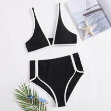 Schwarz Kontrastbindung Sexy Bikini Sets