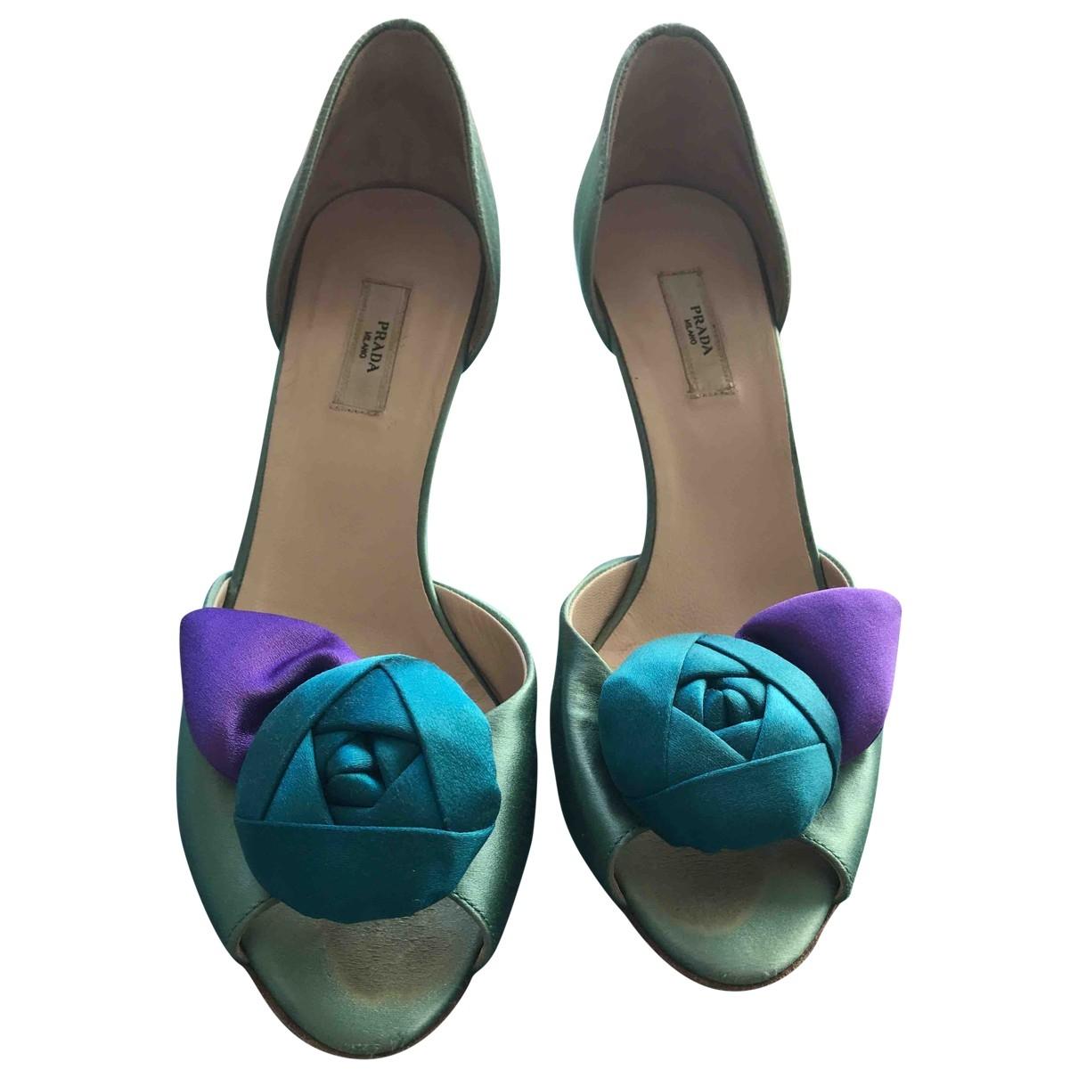 Prada - Escarpins   pour femme en toile - bleu