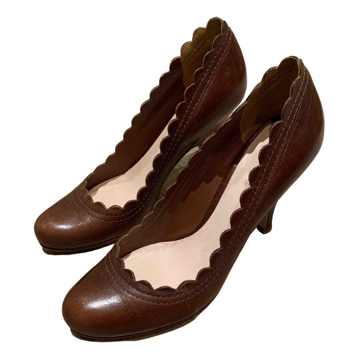 Miu Miu N Brown Leather Heels for Women 36 EU