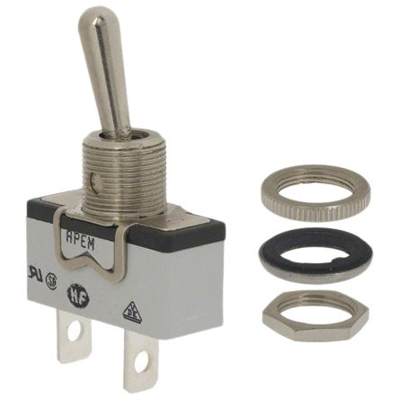 APEM SPDT Toggle Switch, Latching, Panel Mount