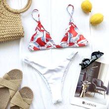 Bikini Badeanzug mit Blatt Muster und hohem Beinschnitt