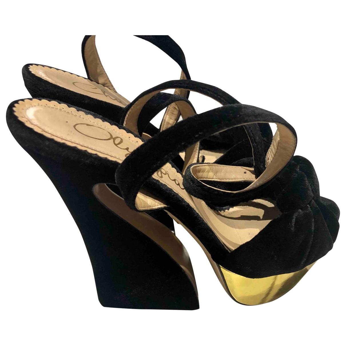 Charlotte Olympia \N Black Velvet Sandals for Women 39 EU