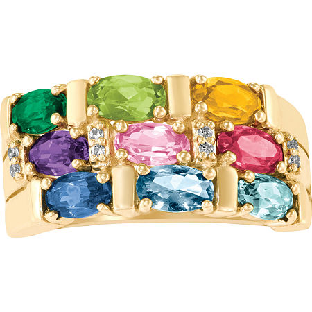 Artcarved Celebrations Of Life 9M Genuine Multi Color Stone 10K Gold Band, 5 1/2 , No Color Family