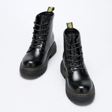 Round Toe Lace Up Front Combat Boots