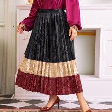 Falda con fruncido de terciopelo de color combinado sin cinturon