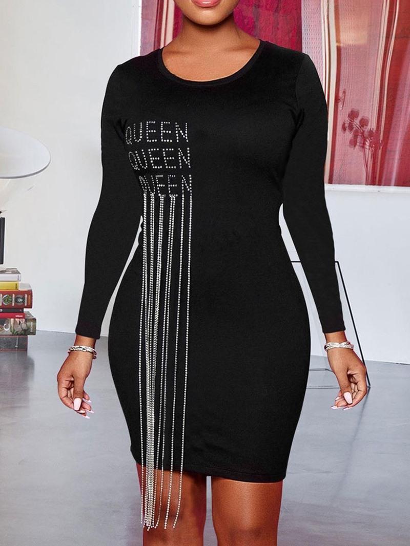 Ericdress Long Sleeve Round Neck Tassel Fall Western Dress