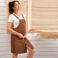 Maternity Button Front Corduroy Overall Dress
