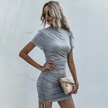 Drawstring Side Ruched Bodycon Dress