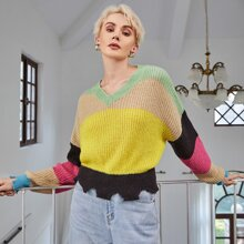 Drop Shoulder Colorblock Ripped Hem Sweater