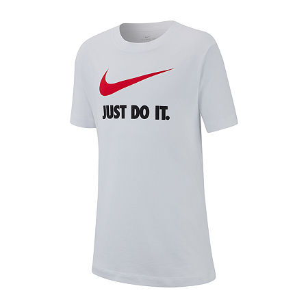Nike Big Boys Crew Neck Short Sleeve Graphic T-Shirt, Small , White