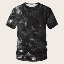 Maenner T-Shirt mit 3D Geometrie Muster