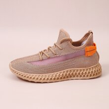 Lace-up Decor Wide Fit Knit Sneakers
