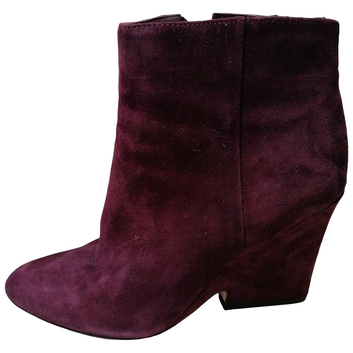Sam Edelman - Boots   pour femme en suede - bordeaux
