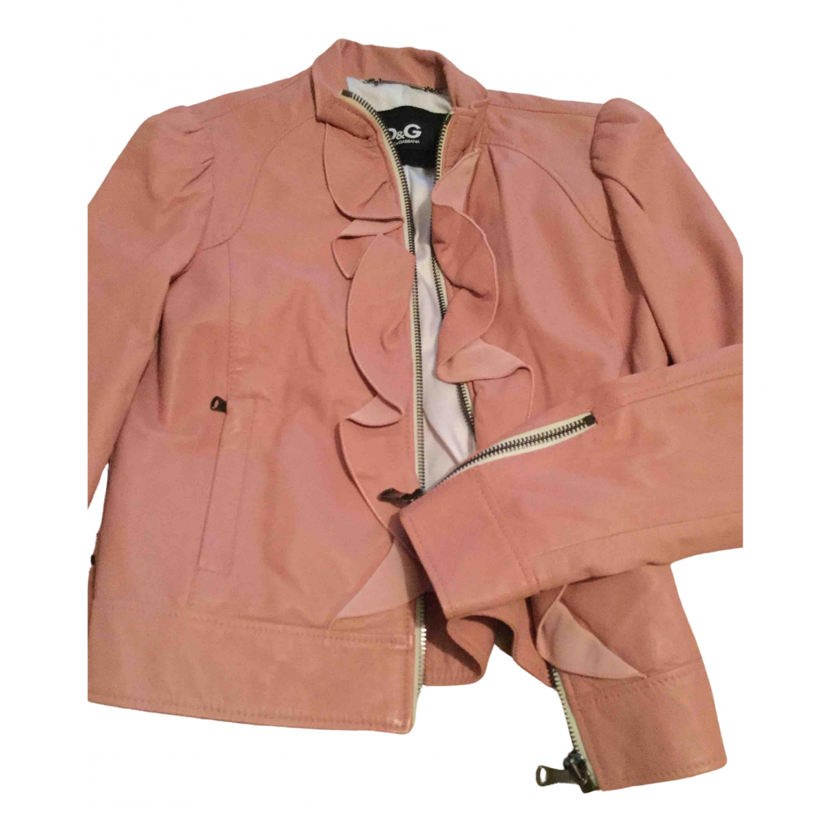 D&g \N Pink Leather jacket for Women 10 UK