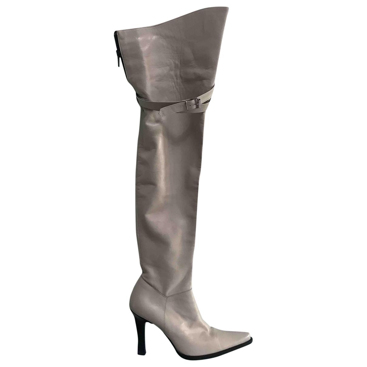 - Bottes   pour femme en cuir - blanc