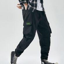 Men Flap Pocket Drawstring Pants