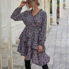 A-Linie Kleid mit Bluemchen Muster und asymmetrischem Saum