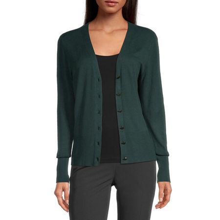 Worthington Womens V Neck Long Sleeve Button Cardigan, Small , Green