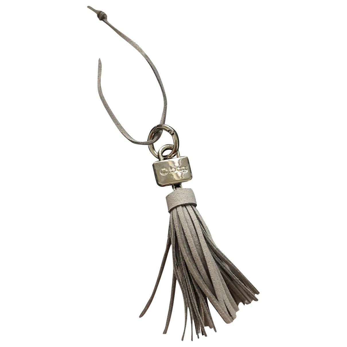 - Bijoux de sac   pour femme en cuir - gris