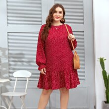 Plus Polka Dot Ruffle Hem Smock Dress