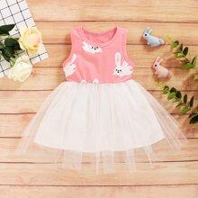 Toddler Girls Mesh Panel Rabbit Print A-line Dress