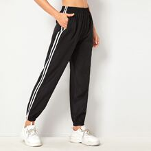 Elastic Waist Side Stripe Sweatpants