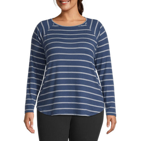 St. Johns Bay Plus-Womens Round Neck Long Sleeve T-Shirt, 0x , Blue