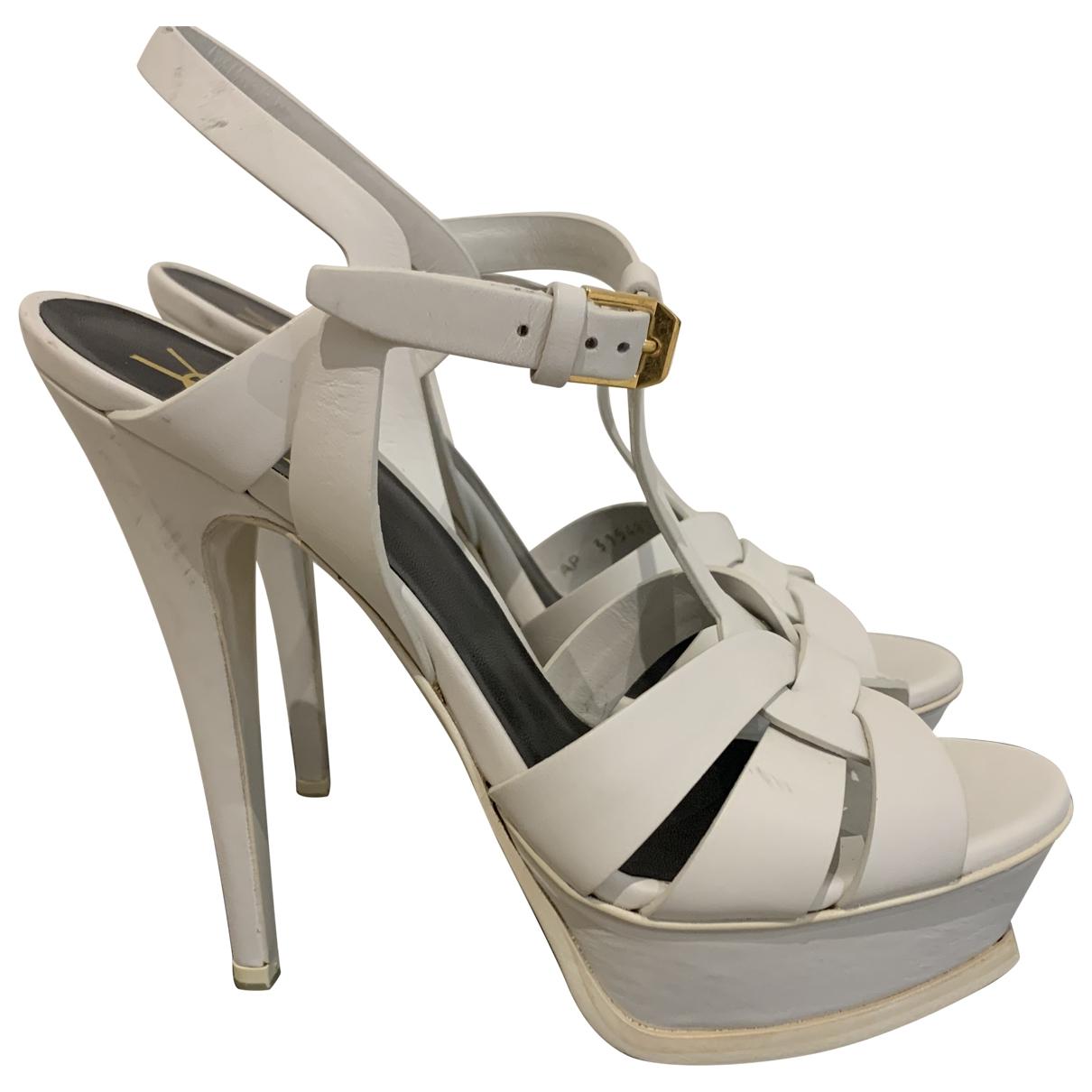 Saint Laurent Tribute White Leather Sandals for Women 37 EU