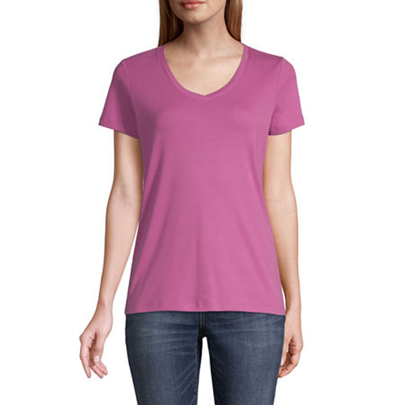 St. John's Bay-Womens V Neck Short Sleeve T-Shirt, Small , Purple