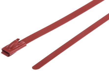 RS PRO Red Polyester Coated Stainless Steel Roller Ball Cable Tie, 360mm x 4.6 mm