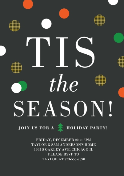 Winter Party Invitations 5x7 Cards, Premium Cardstock 120lb, Card & Stationery -Tis The Season Twinkle