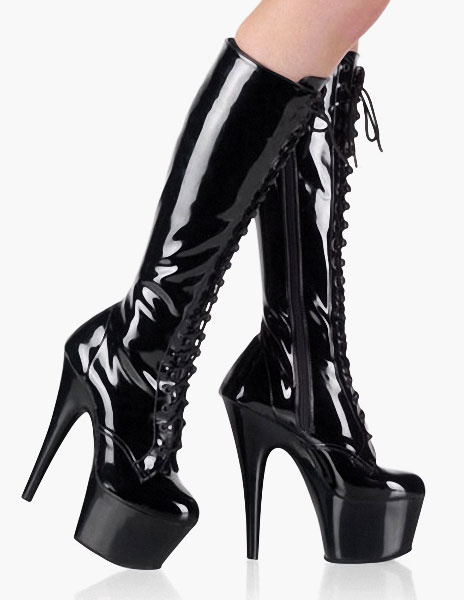 Milanoo Lace Up Knee-high Platform Boots