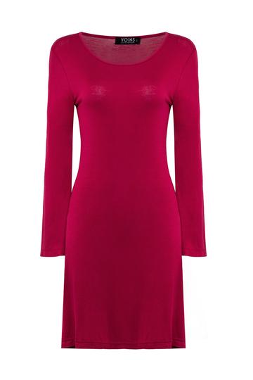 Yoins Red Swing Long Sleeve Dress